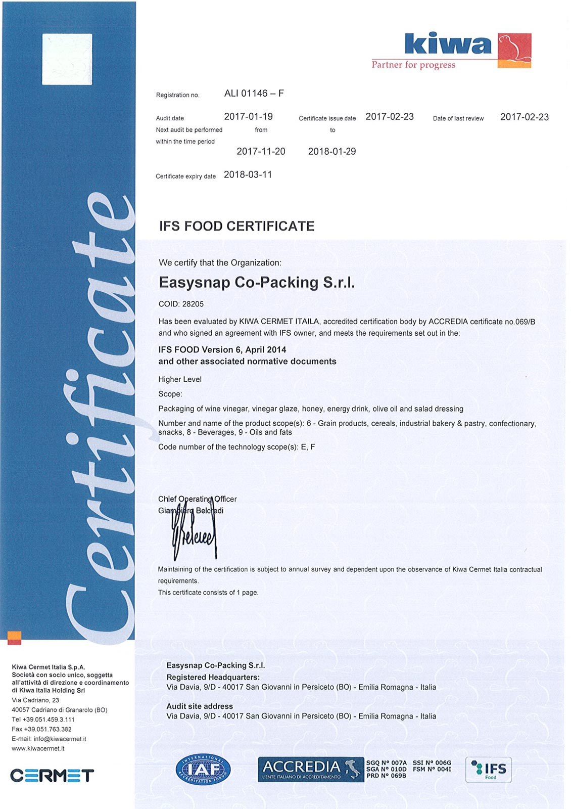 Easysnap Co-packing IFS Quality Certification