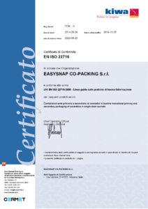 Certificato ISO 22716 ITA